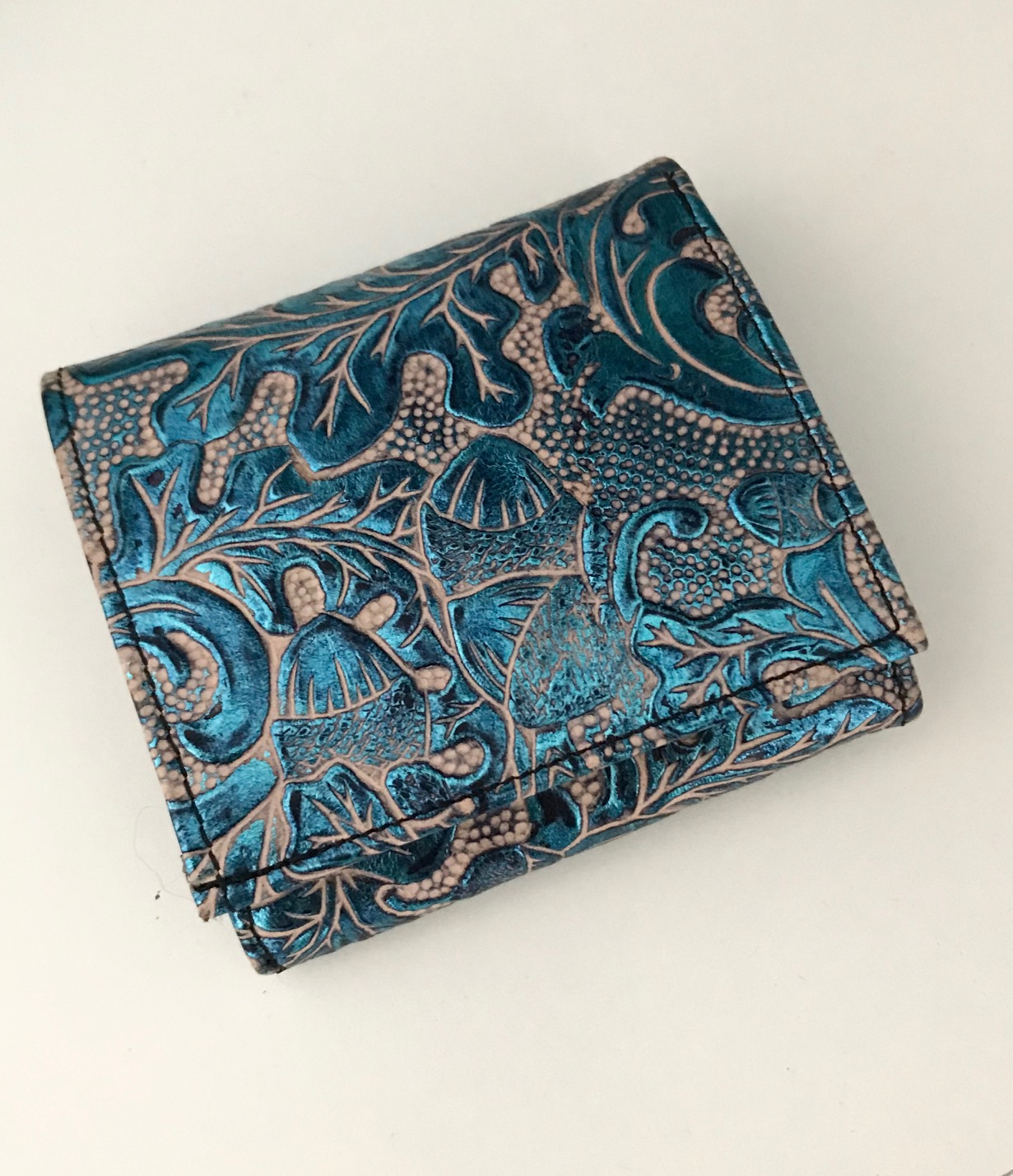 leather wallet chic mini azur evileve