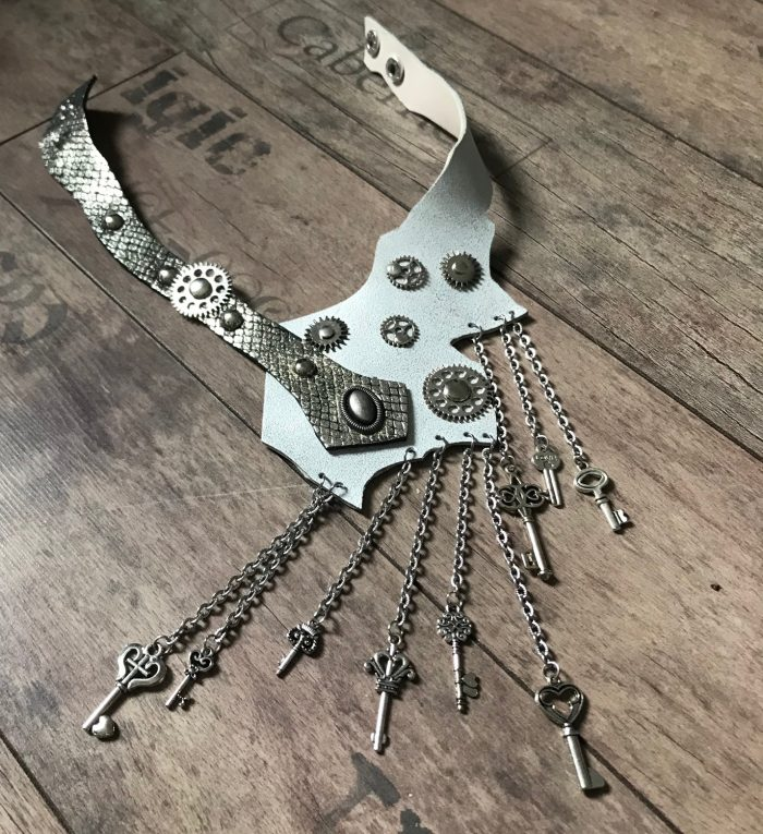 keys steampunk white evileve leather necklace