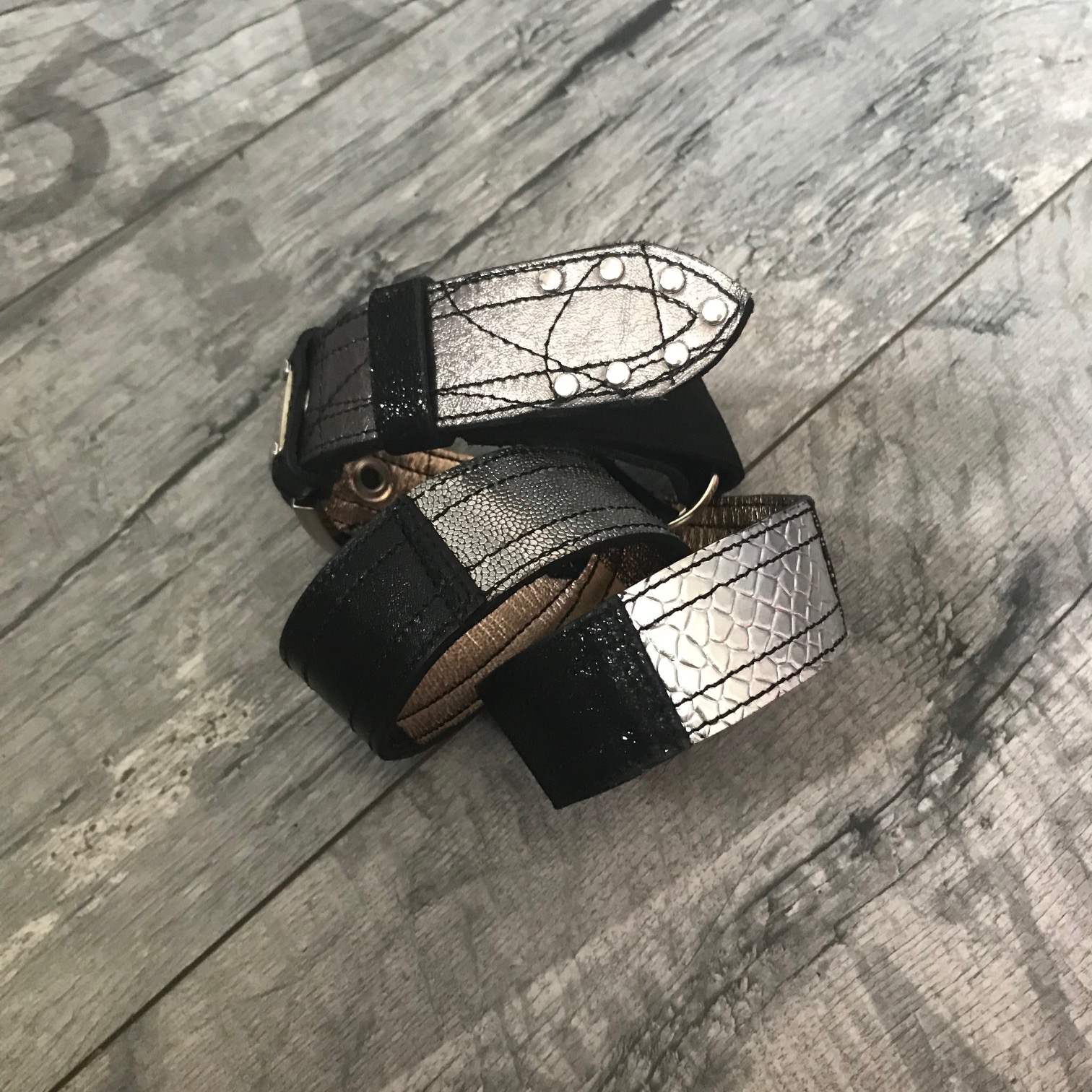 rosegold silver black leather belt evileve