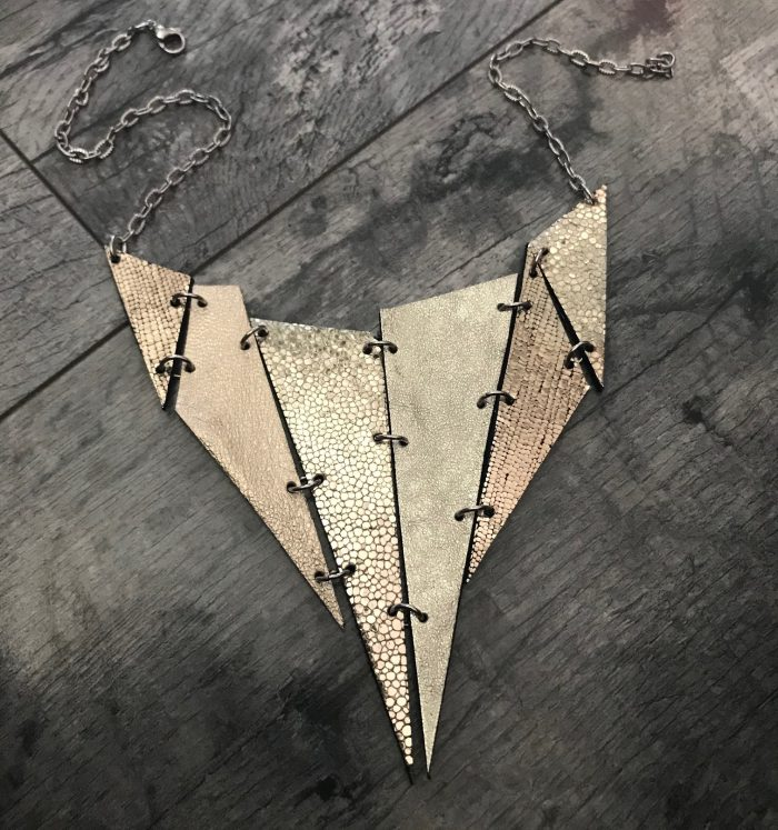 Platinum & Black Spike double face leather necklace
