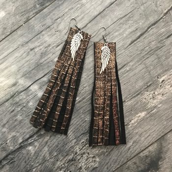 Fringe Bronze leather earrings EvilEve