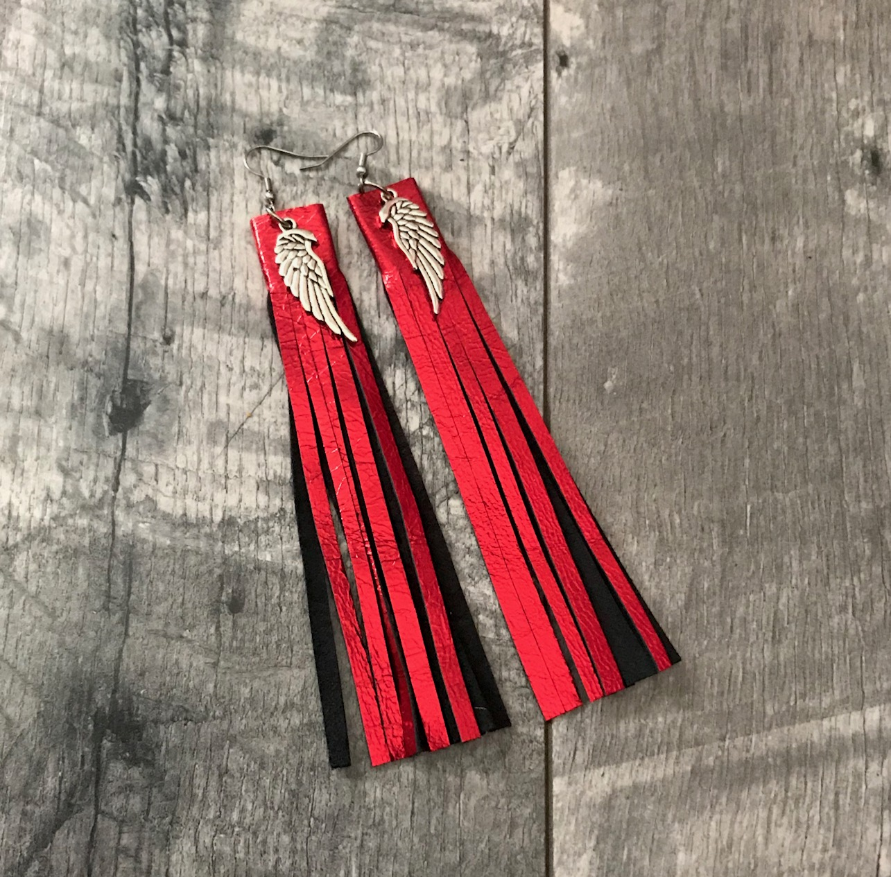 LEATHER EARRINGS FRINGE RED EVILEVE