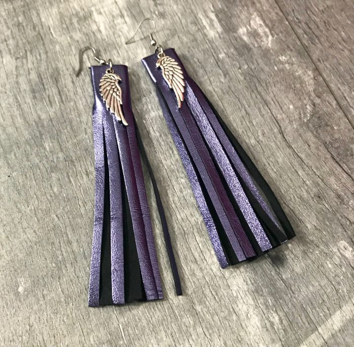 fringe purple leather earrings evileve