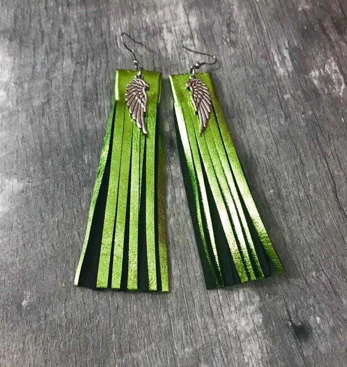 Fringe Lime leather earrings EvilEve