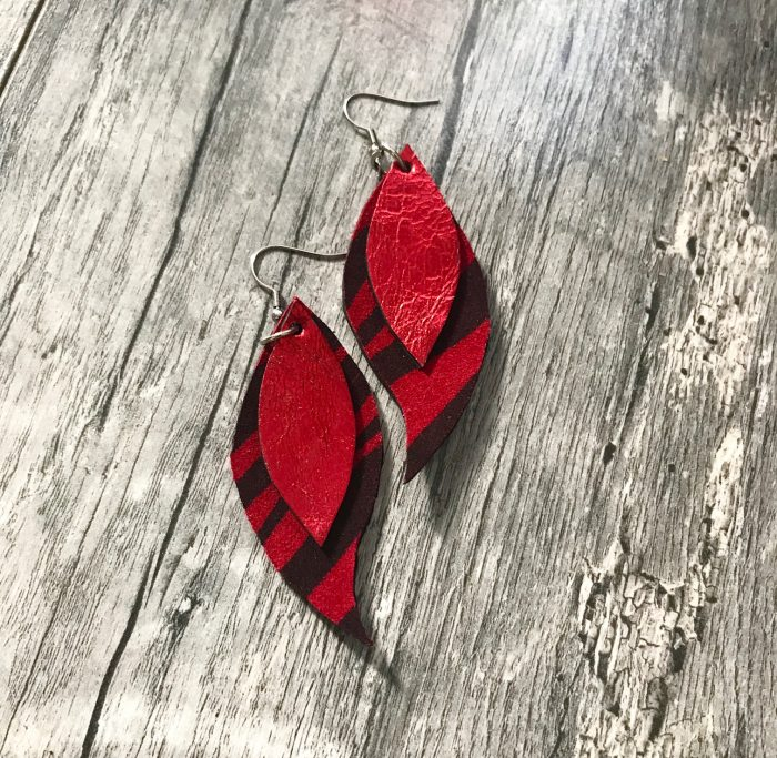 red leaves leather earrings evileve