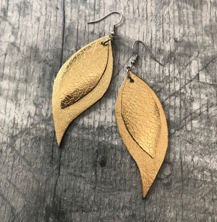 golden leaves leather earrings evileve