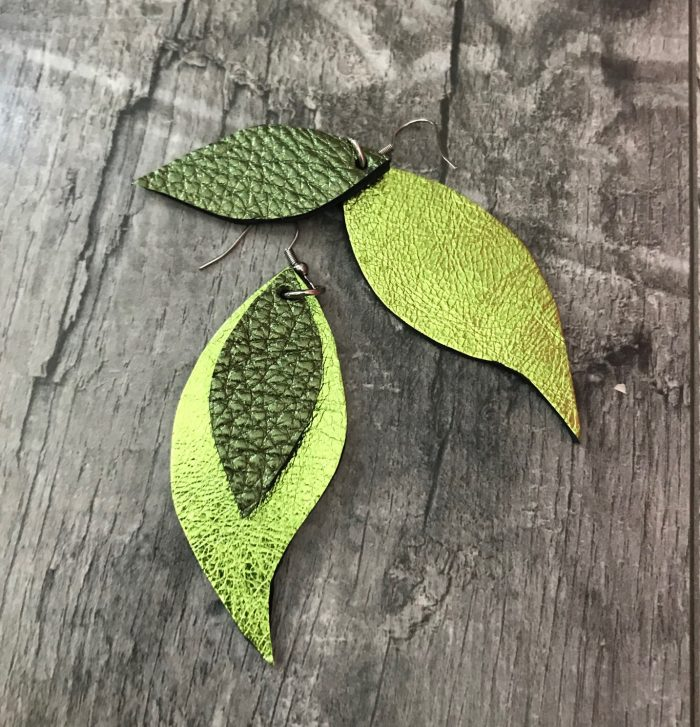 green leaves leather earrings evileve