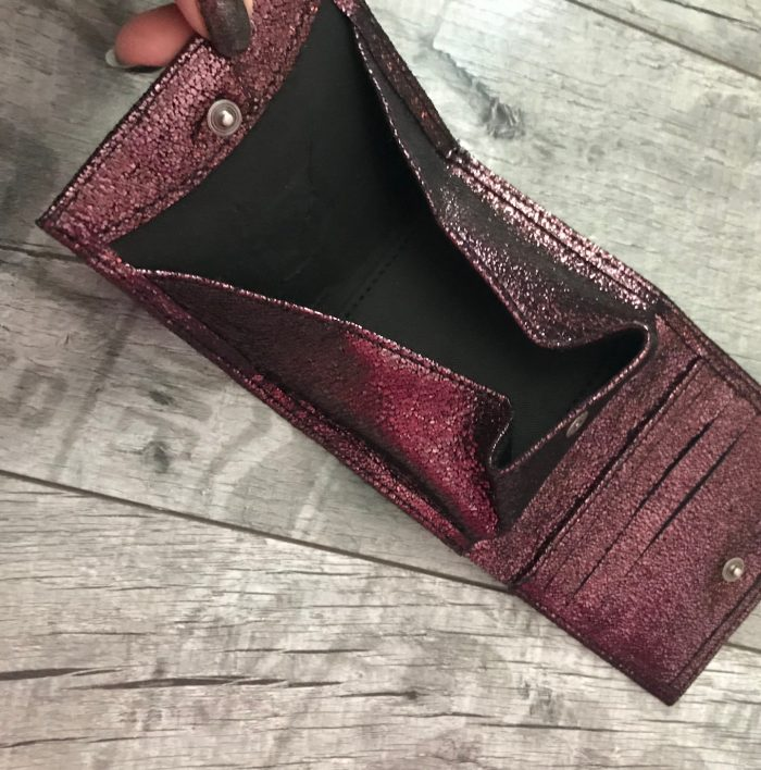 evileve chic mini leather wallet burgundy