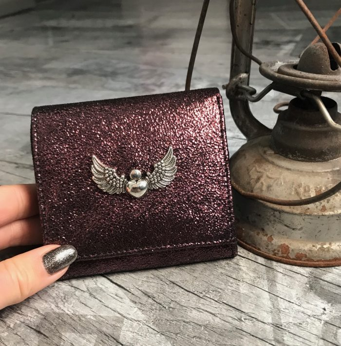 evileve chic mini leather wallet burgundy