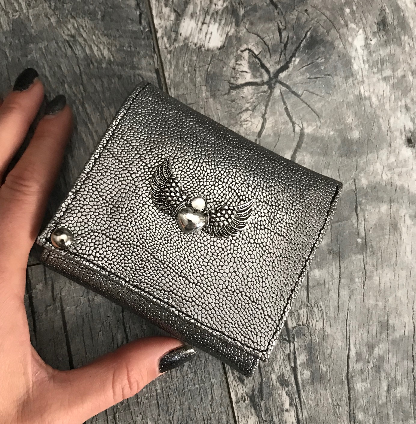 evileve chic mini leather wallet silver