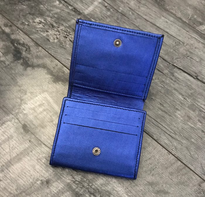 leather wallet chic mini blue evileve