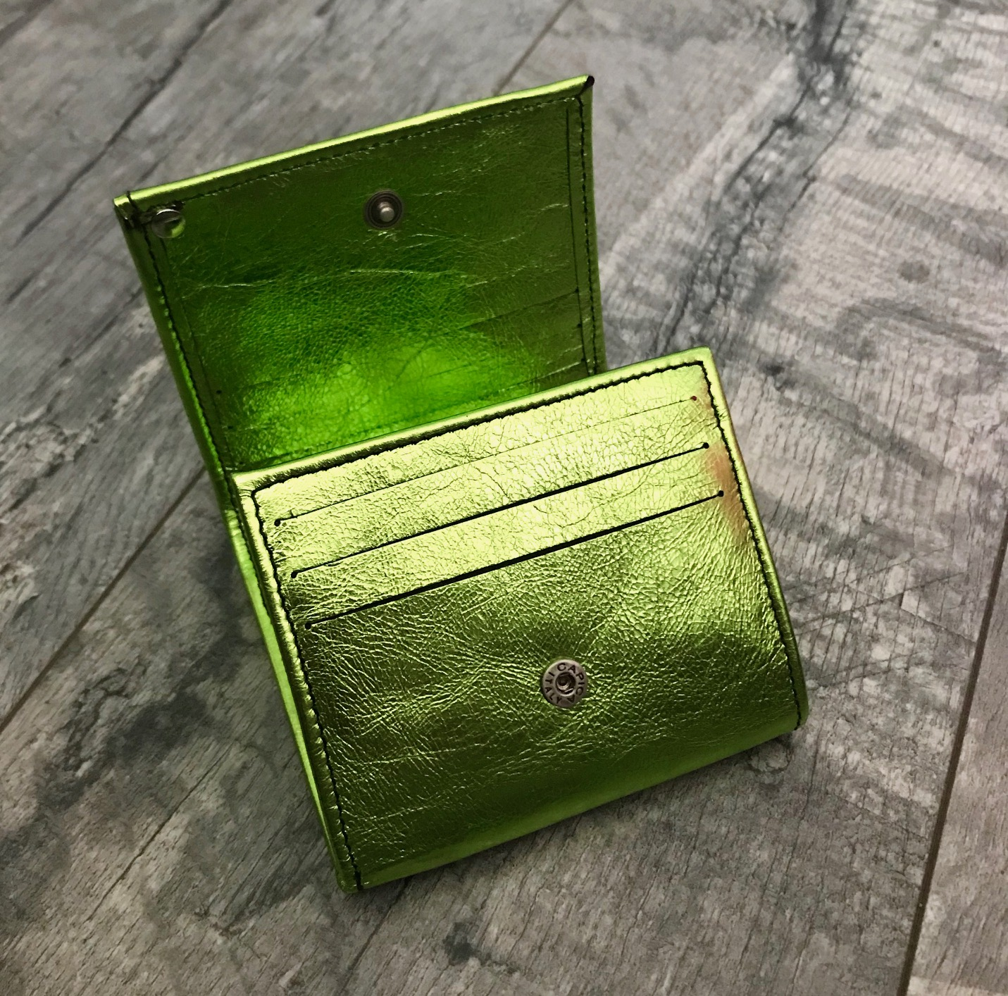 leather wallet chic mini green evileve