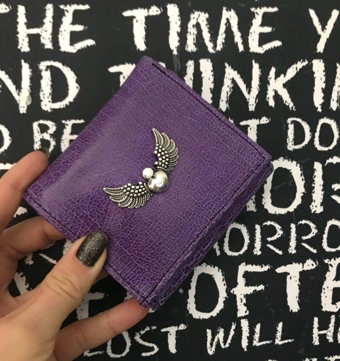leather wallet chic mini purple evileve