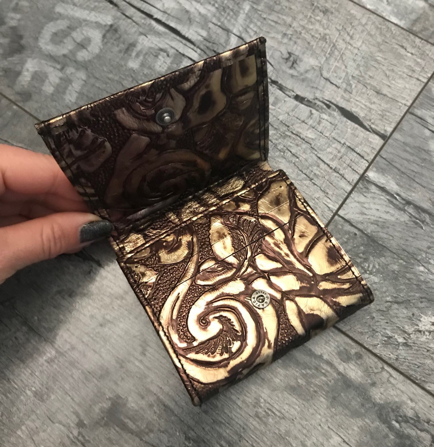 leather wallet chic mini goldie evileve