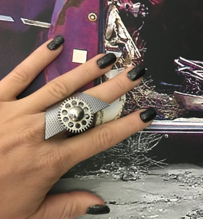steampunk silver leather ring evileve