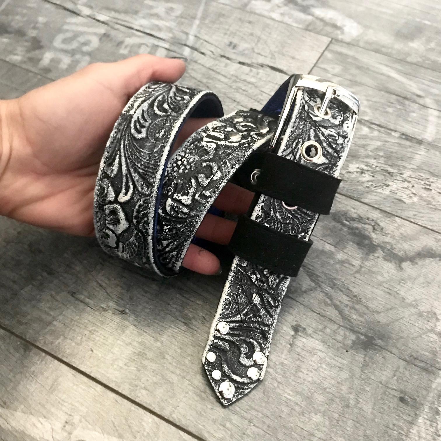 rockangel bule black and white leather belt evileve