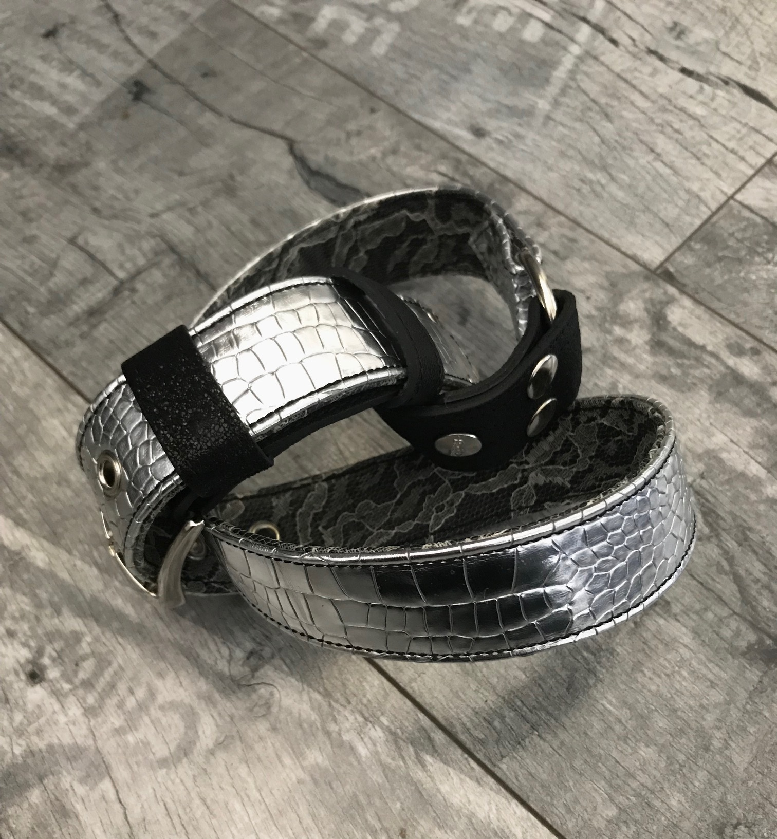 grey silver lace leather belt evileve