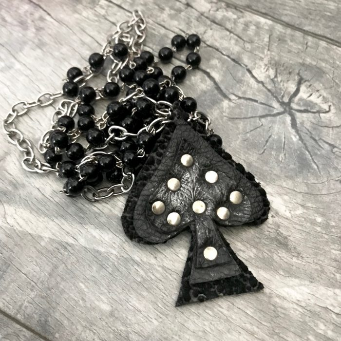 black leather spade necklace evileve