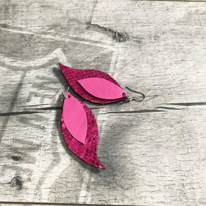 hotpink leaves leather earrings evileve
