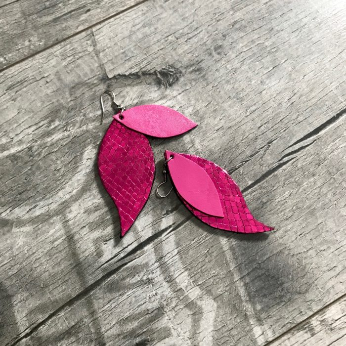 hotpink leaves leather earrings evileve