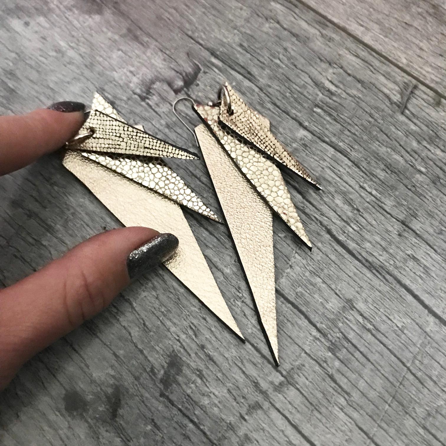 platinum dream leather earrings