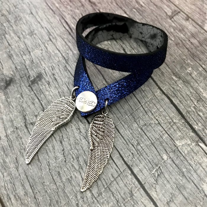 angelwings blue and silver black 4 in 1 leather necklace bracelet evileve
