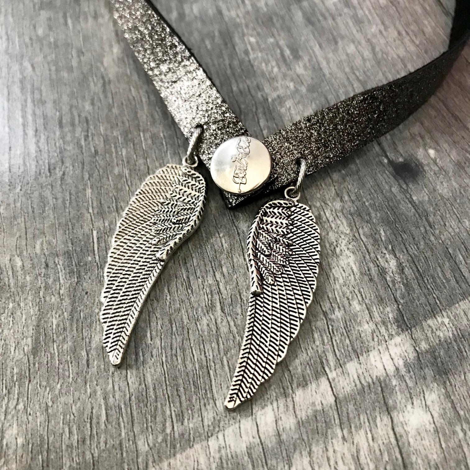 angelwings glitter silver black 4 v 1 evileve necklace bracelet