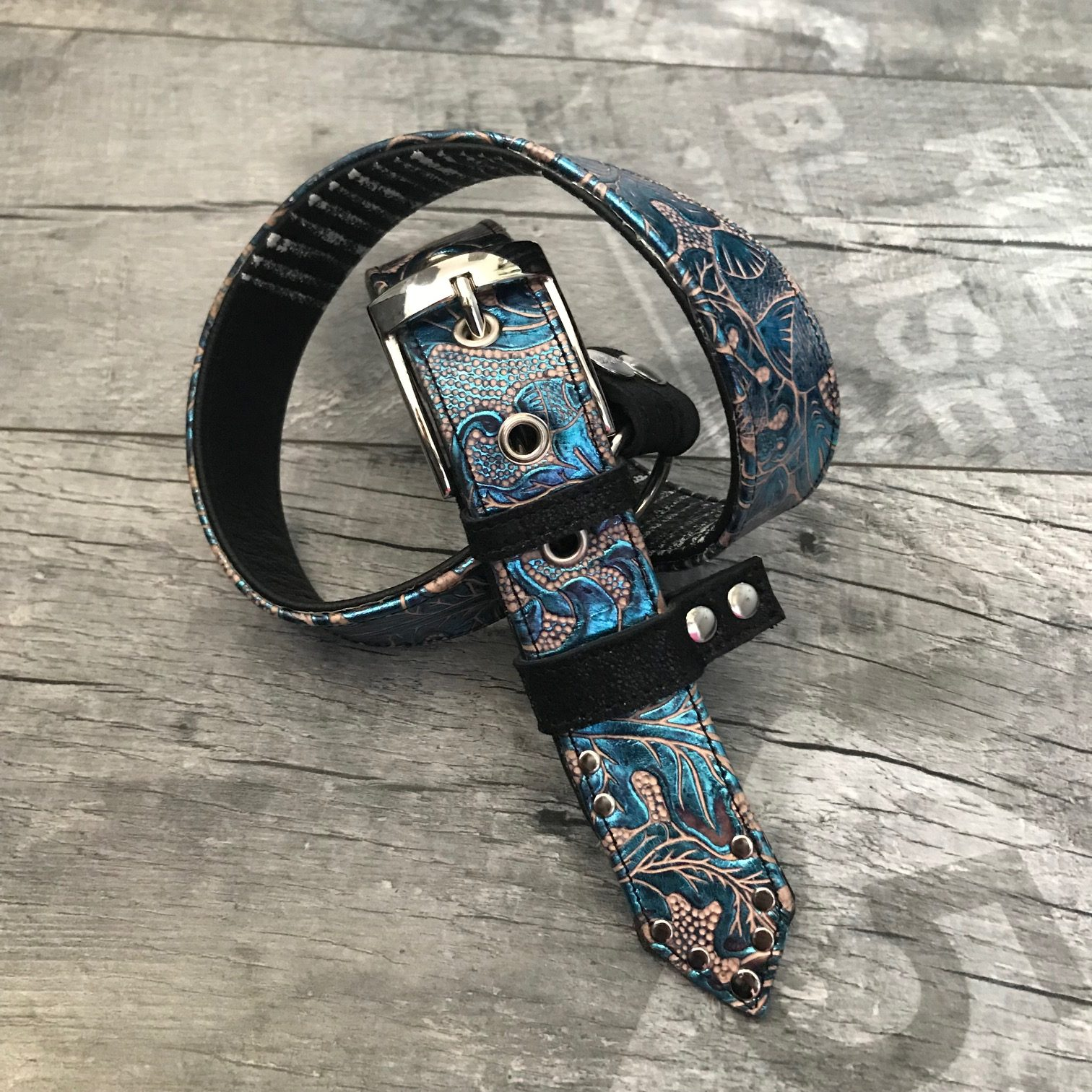 turquoise black white leather belt evileve