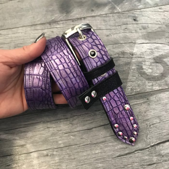 purple black and white leather belt evileve