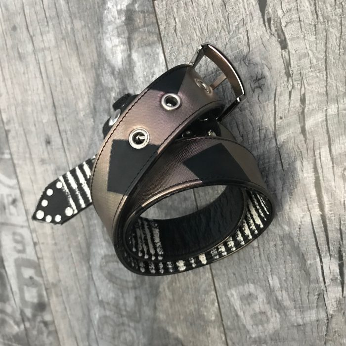 black and white bronze leather belt evileve