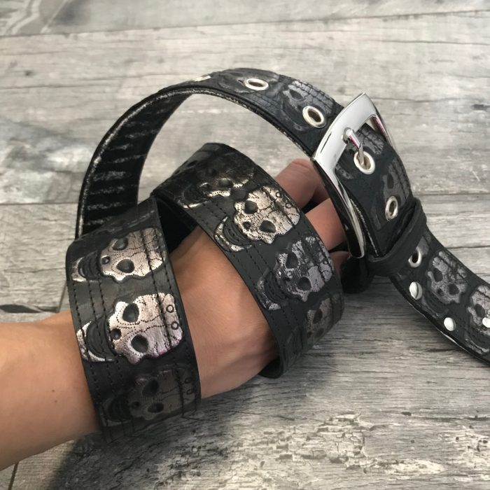 black silver skull unisex leather belt evileve