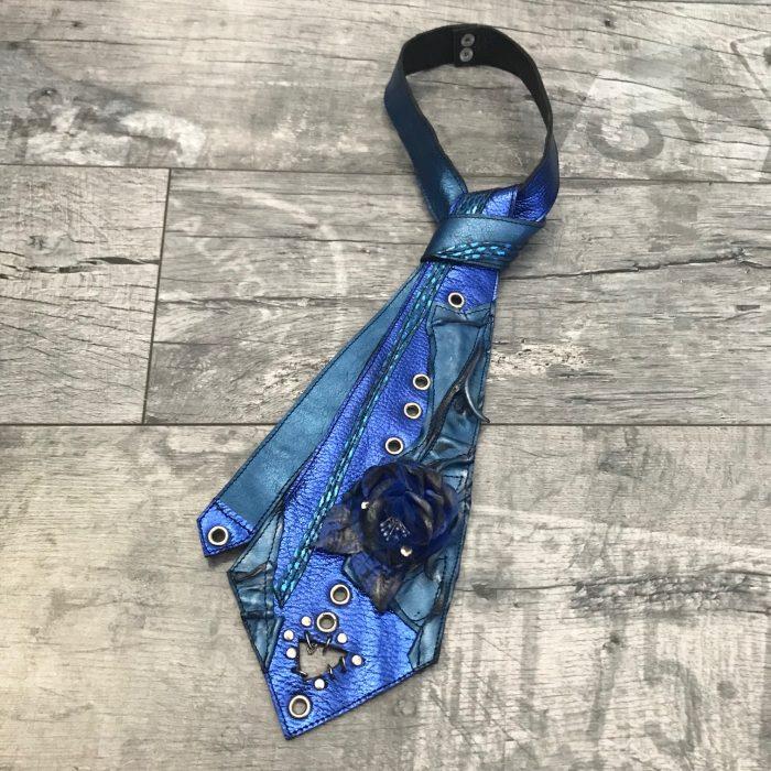 leather tie blue rose evileve