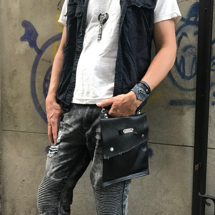 evil eve hands free leather utility bag for men