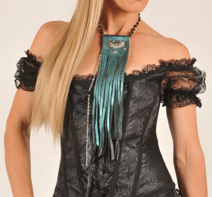 usnjena ogrlica 3v1 fringe fashionista blue evileve