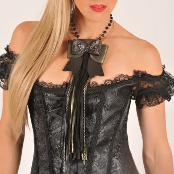 leather necklace 3in1 fringe fashionista goldish evileve