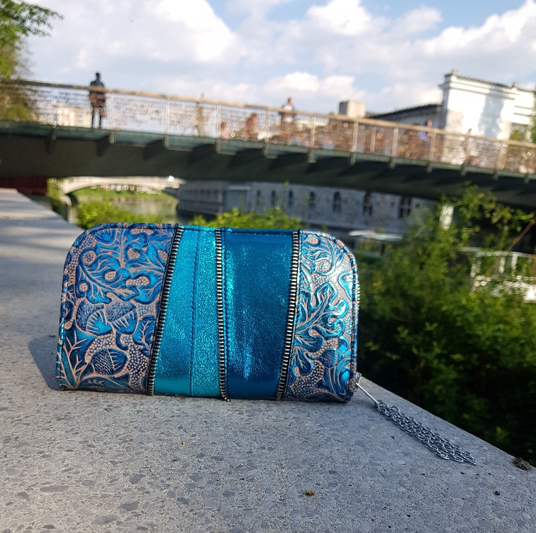 azur carribean blue leather chic maxi wallet evileve