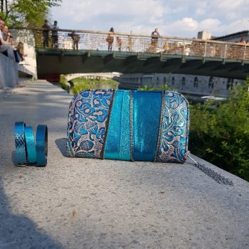 azur carribean blue leather chic maxi wallet evileve