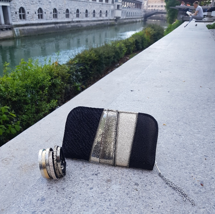 platinum black chic maxi leather wallet evileve