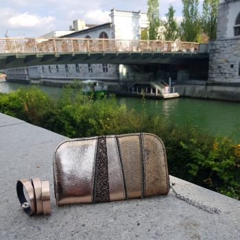 rosegold chic maxi leather wallet evileve