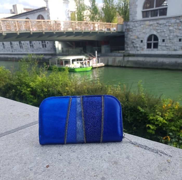 blue chic maxi leather wallet evileve