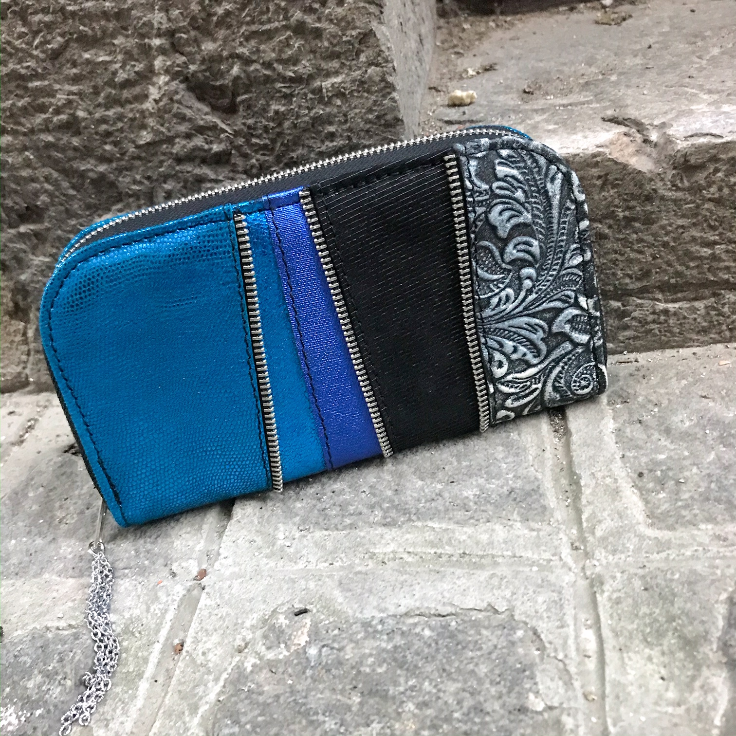 deep blue chic maxi leather wallet evileve