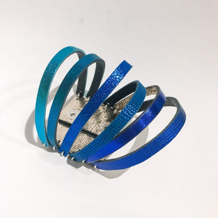 unique handmade leather double face reversible bracelet chic blue evileve