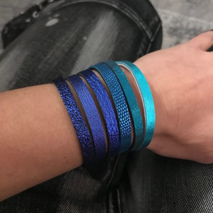 double face blue black reversible leather chic bracelet evileve