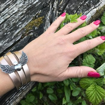 angelwings rosegold evileve leather bracelet