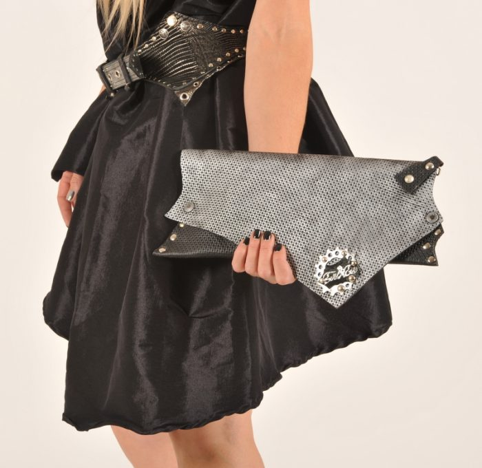 leather clutch black party evileve
