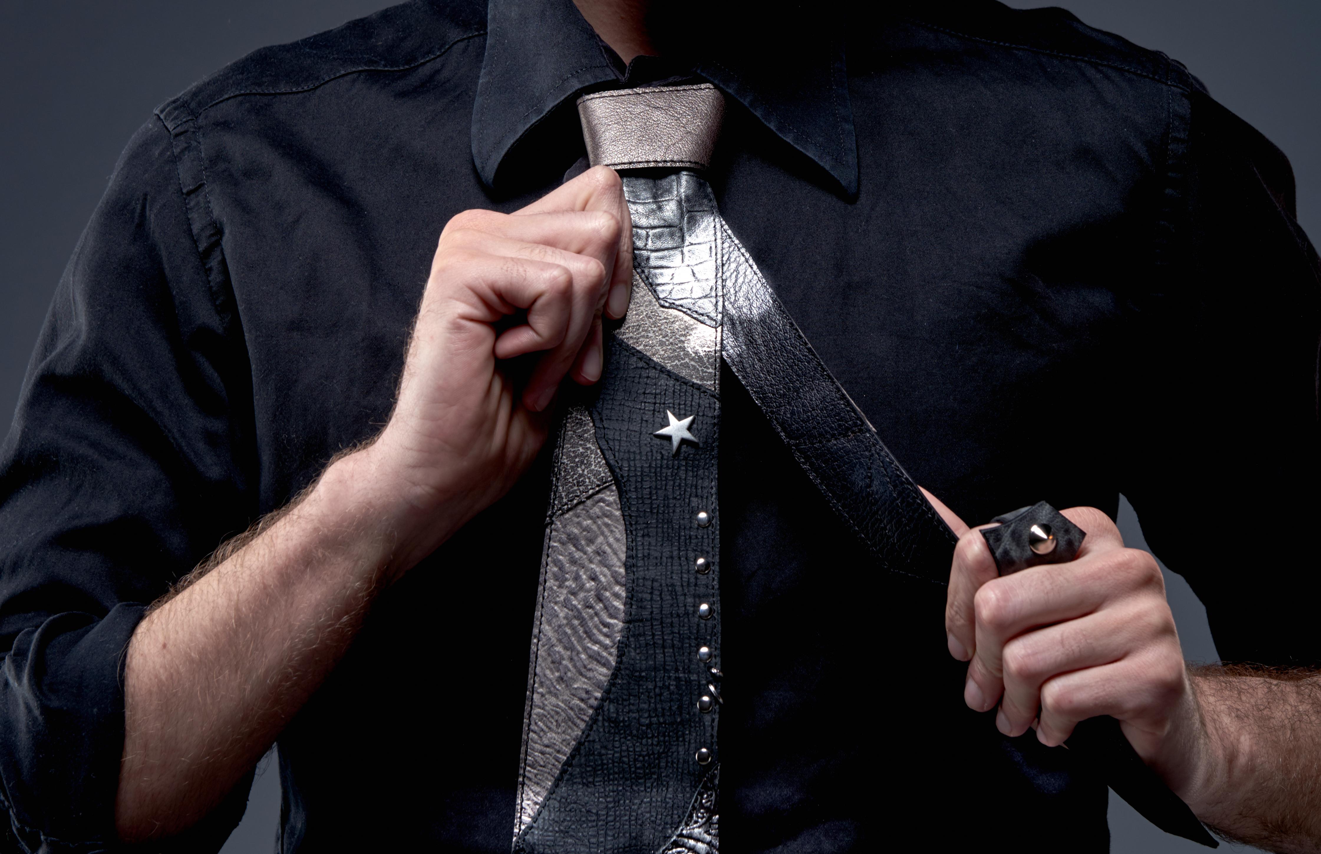 SILVERSTAR leather tie evileve