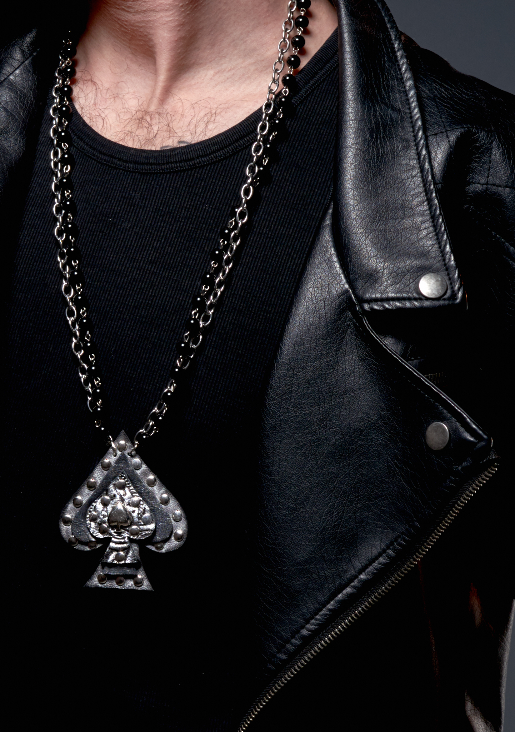 gray spade leather necklace men evileve