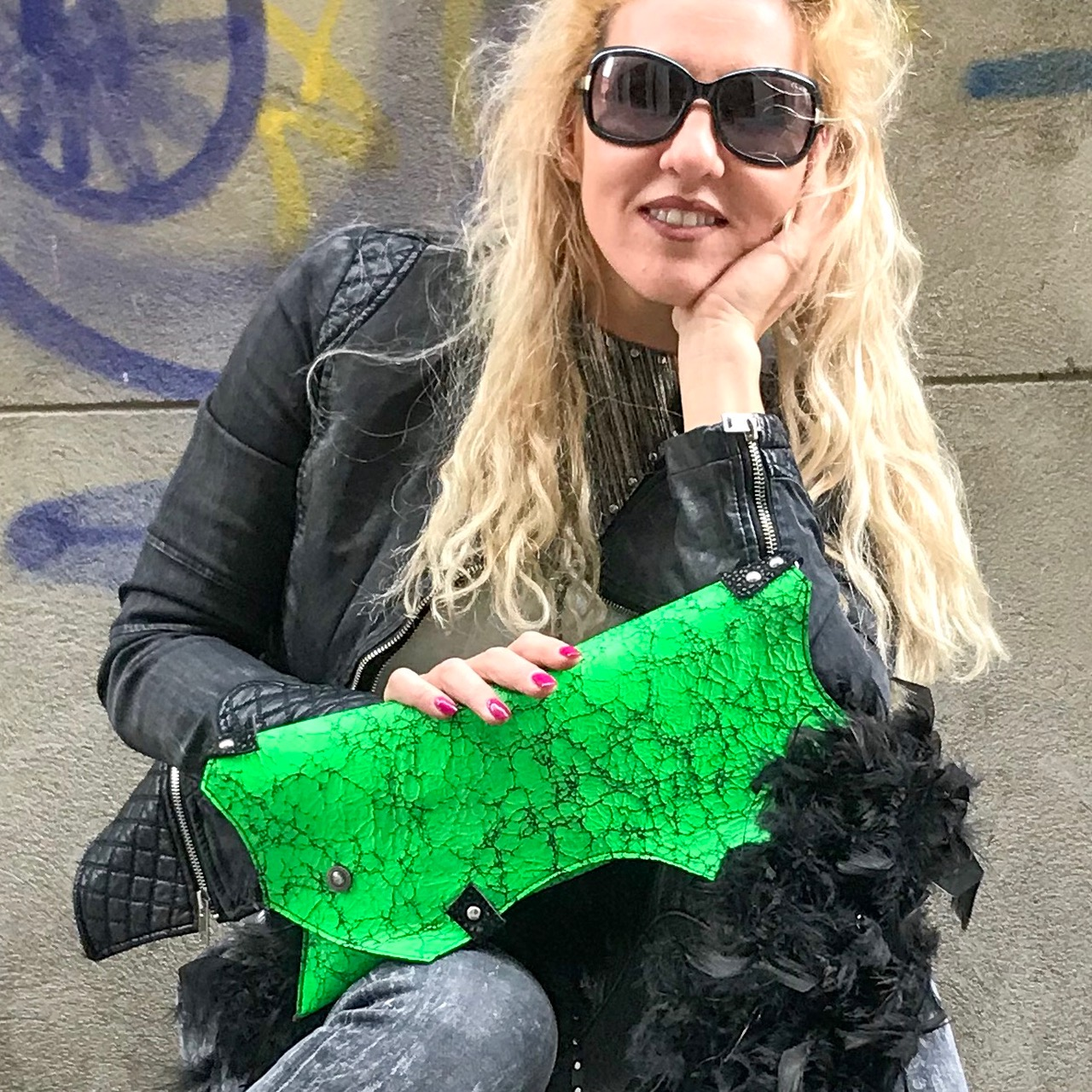 leather clutch green party evileve