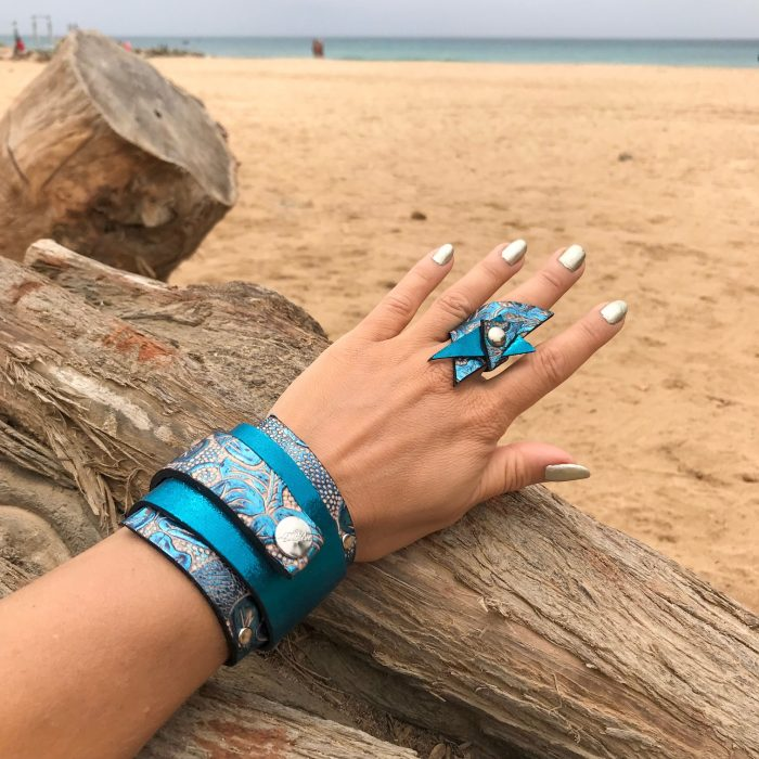 azur passion set wrap around leather bracelet ring evileve