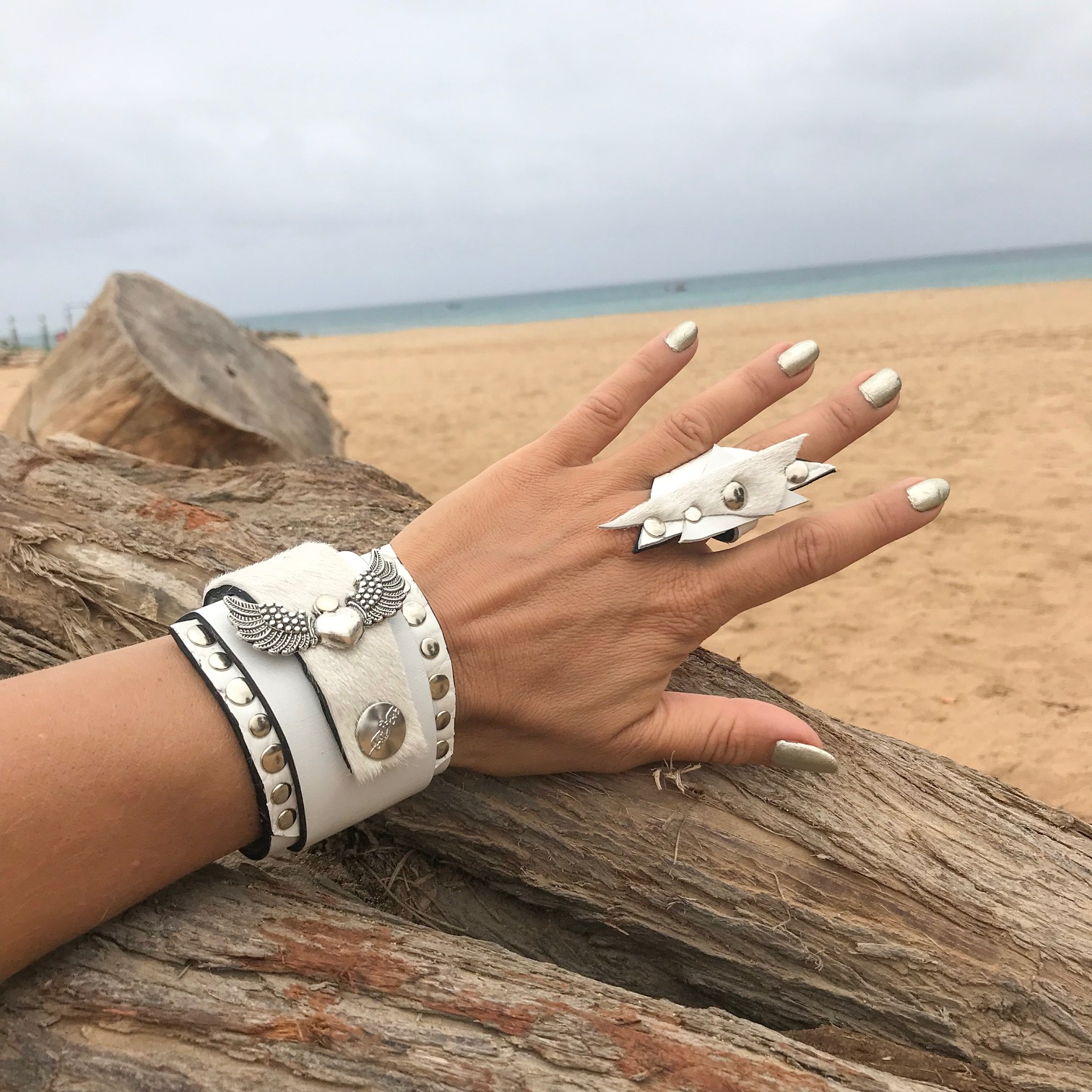 white passion evileve leather bracelet ring